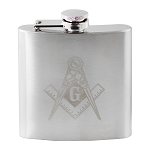 Laser Engraved Square & Compass 6 Ounce Flask