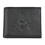 Square & Compass Black Matte Leather Bi-Fold Wallet with Identity Theft Protection