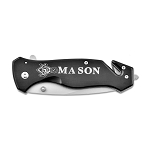 Mason Square & Compass Black Pocket Knife with Seatbelt Cutter - 3 1/4