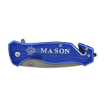 Mason Square & Compass Blue Pocket Knife with Seatbelt Cutter - 3 1/4