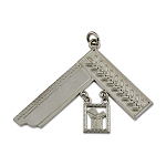 Past Master Square with Euclid's 47th Proposition Silver Officer Jewel - 3 1/2