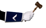 Master's Square Blue & White Hand Embroidered Gauntlets