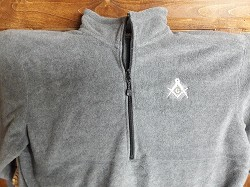 Grey XX-Large Quarter Zip Fleece Jacket with Embroidered Shining Square & Compass