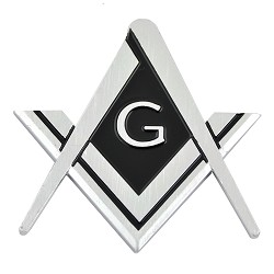 "Square & Compass Chrome Finish ABS Plastic Car Auto Emblem - 3"" Tall"