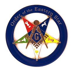"Order of the Eastern Star Patron Round Blue Car Auto Emblem - 3"" Diameter"