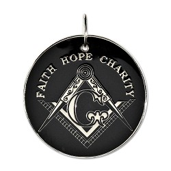 "Faith Hope Charity Square & Compass Black & White Holiday Ornament - 2 1/2"" Diameter"