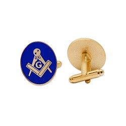 "Square & Compass Oval Blue & Gold Cufflink Set - 3/4"" Tall"