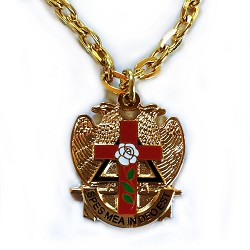 "Rose Croix Cross 32nd Degree Double Headed Eagle Scottish Rite Red & Gold Pendant Necklace - 1 1/8"" Tall"