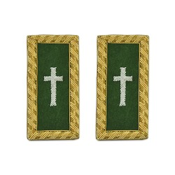 "Knights Templar Commander Cross Green and Gold Embroidered Patch - 4 1/8"" Tall"