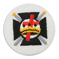 "Knights Templar Cross and Crown Teutonic Cross Embroidered Patch - 1 1/2"" Diameter"