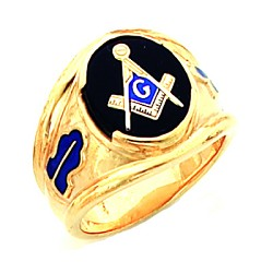 Gold Plated Blue Lodge Ring MASCJ1145