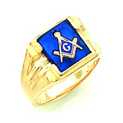 Gold Plated Blue Lodge Ring MASCJ1280