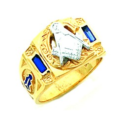 Gold Plated Blue Lodge Ring MASCJ2005
