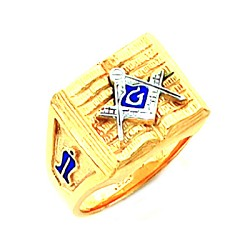 Gold Plated Blue Lodge Ring MASCJ603