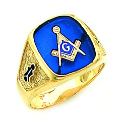 Gold Plated Blue Lodge Ring MASCJ60987