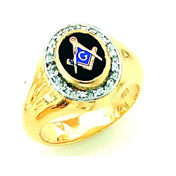 Gold Plated Blue Lodge Ring MASCJ72059