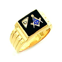 Gold Plated Blue Lodge Ring MASCJ7281