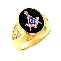 Gold Plated Blue Lodge Ring MASCJ802