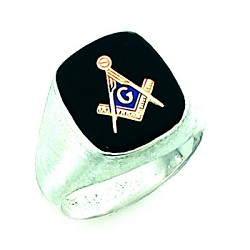 Sterling Silver Blue Lodge Ring MASCJ60989
