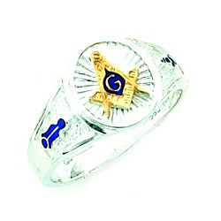 Sterling Silver Blue Lodge Ring MASCJ61381