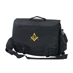 Embroidered Square & Compass Masonic Briefcase / Computer Bag / Apron Case - [Black]