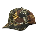 Gold Square & Compass Embroidered Masonic Flexfit Adult Mossy Oak Pattern Camouflage Hat