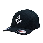 Silver Square & Compass Embroidered Masonic Flexfit Adult Cool & Dry Piqué Mesh Hat