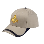 Gold Square & Compass Embroidered Masonic Sport Wave Adjustable Hat