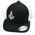 Silver Square & Compass Embroidered Masonic Flexfit Adult Trucker Hat