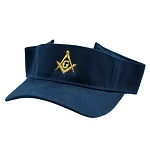Gold Square & Compass Embroidered Masonic Cotton Twill Adjustable Visor Hat