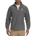 Gold Square & Compass Embroidered Masonic Men's Fleece Full-Zip Jacket
