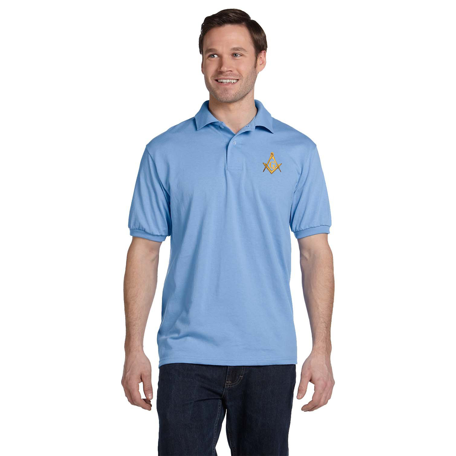 Gold Square & Compass Embroidered Masonic Men's Polo Shirt
