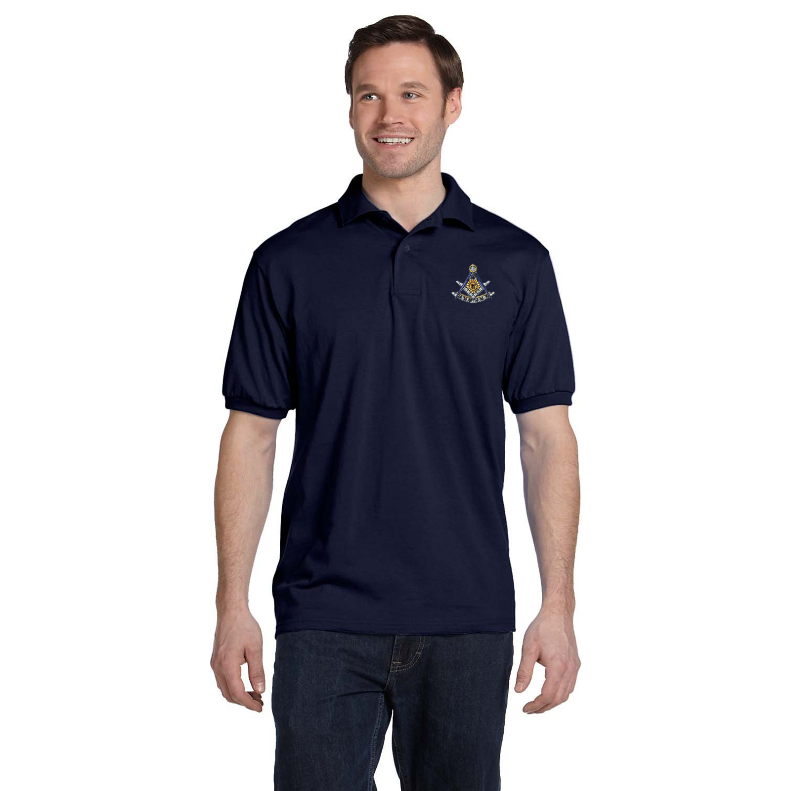 Past Master with Square & Protractor Embroidered Masonic Men's Polo Shirt
