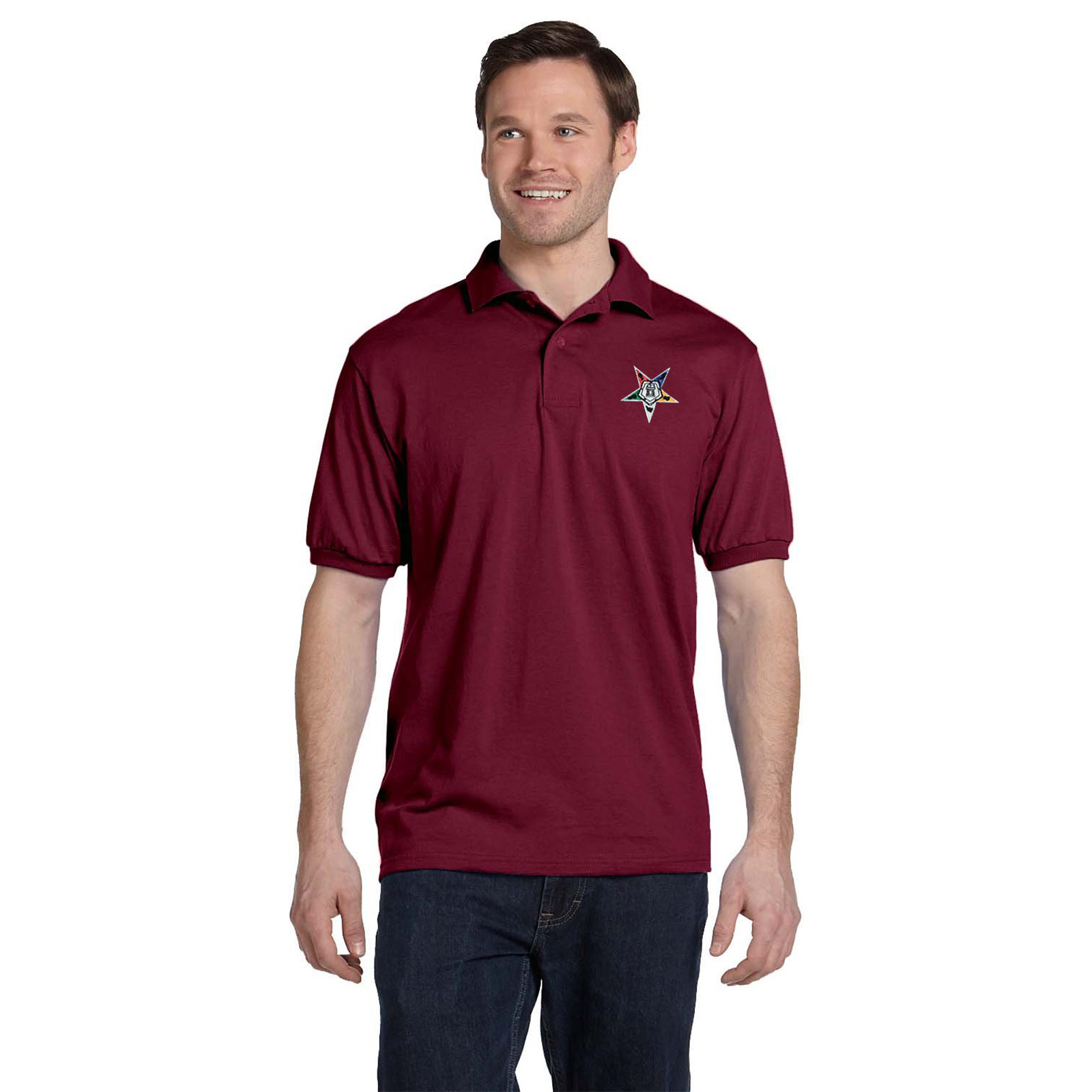 Order of the Eastern Star Embroidered Masonic Men's Polo Shirt