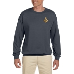 Gold Square & Compass Embroidered Masonic Men's Fleece Crew Sweatshirt