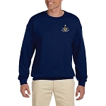 Past Master with Square & Protractor Embroidered Masonic Men's Fleece Crew Sweatshirt