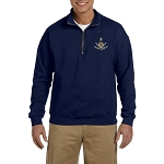 Past Master with Square & Protractor Embroidered Men's Quarter-Zip Sweatshirt