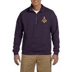 Gold Square & Compass Embroidered Masonic Men's Quarter-Zip Sweatshirt