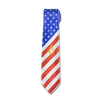 American Flag Square & Compass Masonic Neck Tie - [Red & White]