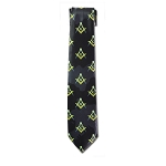 Square & Compass Masonic Neck Tie - [Black Yellow Blue]