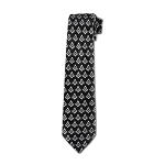 Square & Compass Masonic Neck Tie - [Black & Silver]