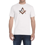 American Flag Square & Compass Masonic Men's Crewneck T-Shirt
