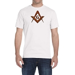 Rust Color Square & Compass Masonic Men's Crewneck T-Shirt