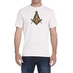 Brass Square & Compass Masonic Men's Crewneck T-Shirt
