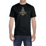 Shining G Square & Compass Masonic Men's Crewneck T-Shirt