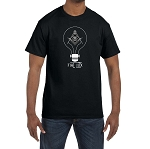 Fiat Lux Lightbulb Square and Compass Masonic Men's Crewneck T-Shirt