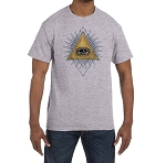 All Seeing Eye Gold & Blue Triangle Masonic Men's Crewneck T-Shirt