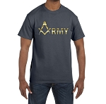 Gold Army Square & Compass Masonic Men's Crewneck T-Shirt