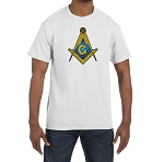 Gold & Blue Square & Compass Masonic Men's Crewneck T-Shirt