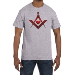 Red Square & Compass Heart Masonic Men's Crewneck T-Shirt